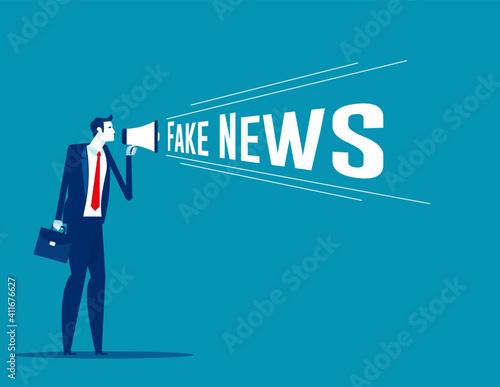 Canvas Print Holding megaphone with fake news speech. Loudspeaker vector