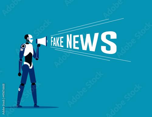 Holding megaphone with fake news speech. Loudspeaker vector Wallpaper Mural