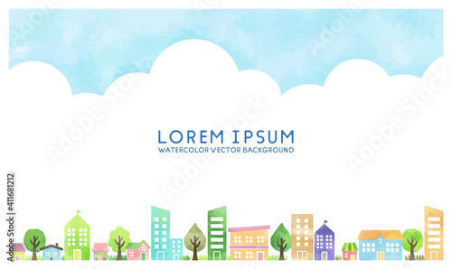 Fotografija watercolor vector hand drawn houses illustration, space for text