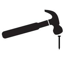 Hammer Hitting Nail Icon On White Background. Flat Style. Hammer And Nail Symbol. Hammer Logo. Hammer Striking A Nail Sign.