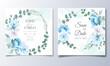 Elegant wedding invitations card with beautiful hand draw floral