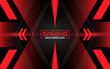 Abstract futuristic geometric black and red gaming background with modern esport shapes. Vector design template technology concept can use element game banner, sport poster, cyber wallpaper, web