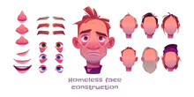 Homeless Man Face Construction, Avatar Creation With Different Head Parts Isolated On White Background. Vector Cartoon Set Of Beggar, Poor Character Eyes, Noses, Hairstyles, Brows And Lips