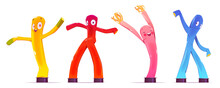 Inflatable Figures, Dancing Colorful Men With Funny Faces, Legs And Arms. Balloon Moving Characters For Outdoor Promotion Or Event Decoration Isolated On White Background, Cartoon Vector Illustration