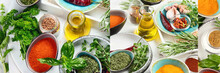 Collage Of Fresh And Dried Herbs And Spices.