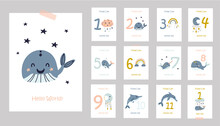 Monthly Baby Cards With Cute Whales.