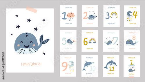 Obraz Monthly baby cards with cute whales. - fototapety do salonu