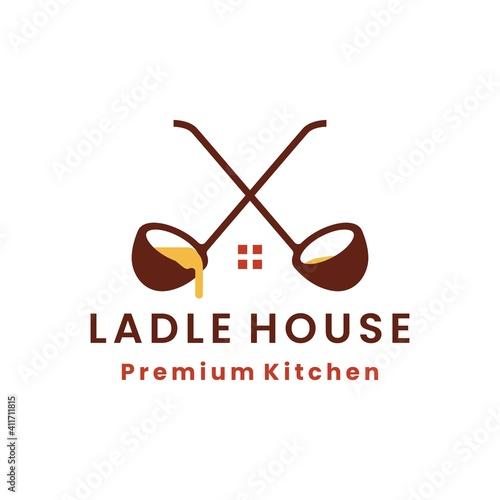 Fotografiet ladle kitchen cocking food house logo vector icon illustration