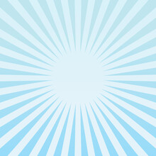 Abstract Template Or Background With Blue Sky And Radial Rays.