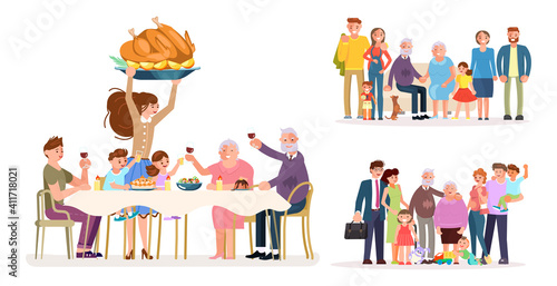 Set of Multi generation family portrait including kids, teen girl in wheelchair, parents and grandparents Fotobehang