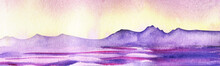 Watercolor Peaceful Landscape Of Mountain Lake. Sun Sets Behind Mountains Line Coloring Sky With Warm Soft Colors Of Yellow And Lilac Shades. Colorful Water Ripples Reflect Uneven Mountain Range