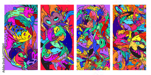 Fototapeta Psychedelic colorful vector hand drawn doodle illustration background for poster and banner  obraz na płótnie