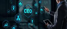 CEO Concept. Businessman Pressing Virtual Screen Inscription Boss.