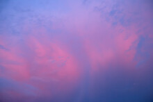 Pink And Blue Clouds In The Evening Sky. Background Image. Natural Background.
