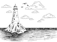 Lighthouse Island Sea Graphic Black White Landscape Sketch Illustration Vector