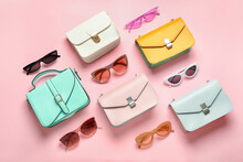 Composition With Sunglasses And Bags On Color Background
