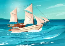 Sailing Ship With Black Flags In The Sea. Wooden Sailboat On Water. Cartoon Vector Illustration.