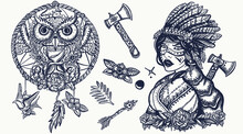 Native American Indian Old School Tattoo Vector Collection. Ethnic Warrior Girl, Shamanic Female, Dream Catcher, Owl. Tribal Culture And History. Traditional Tattooing Style