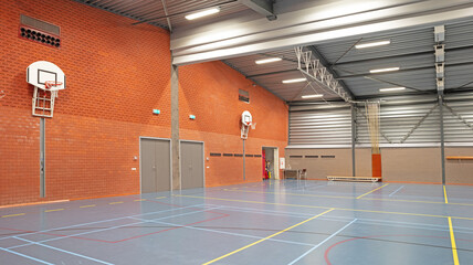 Interior of a large school gym hall