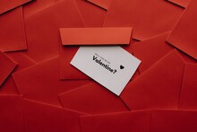 Envelope With Card Will You Be My Valentine On Red Envelopes