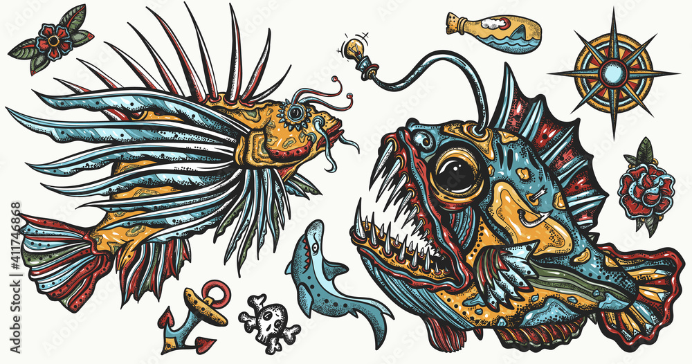 Fototapeta Sea monsters. Angler fish and lionfish, shark, compass. Underwater life. Old school tattoo vector collection. Deep water diving art. Treasures and life of ocean