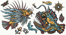 Sea Monsters. Angler Fish And Lionfish, Shark, Compass. Underwater Life. Old School Tattoo Vector Collection. Deep Water Diving Art. Treasures And Life Of Ocean