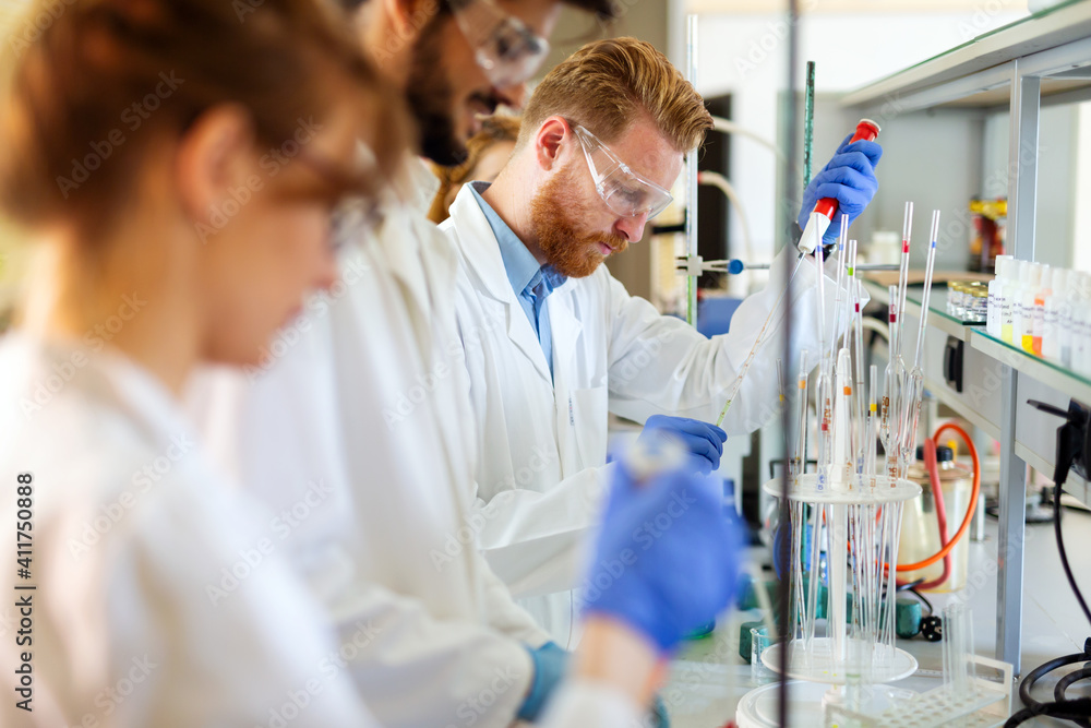 Fototapeta Group of medical scientists working at the laboratory. Research virus people concept