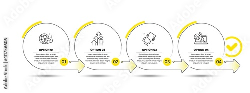 Fototapeta Winner cup, Employee result and World mail line icons set. Timeline process infograph. Online chemistry sign. Best trophy, Business growth, Chat. Lab flask. People set. Vector obraz