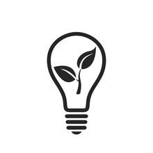 Eco Light Bulb Icon. Environmental And Eco Friendly Symbol. Isolated Vector Image