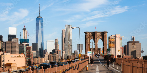 Foto Murales NYC skyline and Brooklyn bridge, New York city, USA