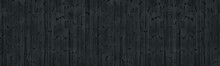 Black Knotty Wooden Board Wide Texture. Dark Grey Wood Plank Panorama. Gloomy Grunge Panoramic Widescreen Background