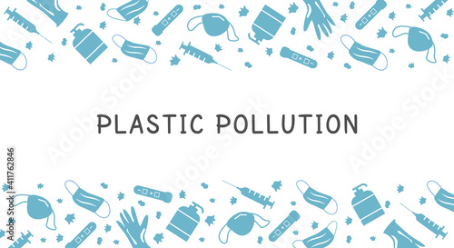 Fototapeta Covid Coronavirus Waste Banner. Plastic pollution background. Environmental issue or ecology problem of marine rubbish, syringe, hand sanitizer, latex glove, face masks in sea. Vector illustration. obraz
