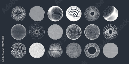 Obraz Spheres formed by many dots or lines. Abstract design elements. 3d vector illustration for science, education or medicine. - fototapety do salonu