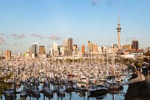 Auckland City And Harbor At Sunset, New Zealand