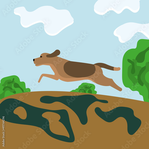 Obraz na plátně brown hunting dog in pursuit of prey in nature, landscape with green bushes and