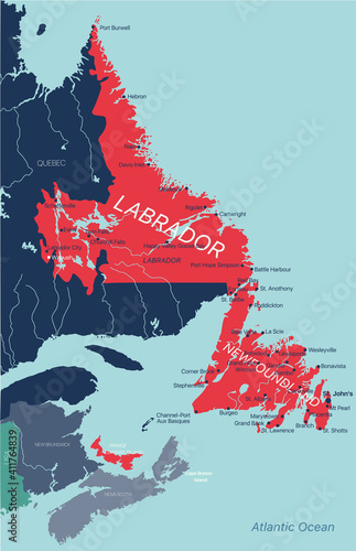 Newfoundland and Labrador province vector editable map of the Canada with capital, national borders, cities and towns, rivers and lakes. Vector EPS-10 file