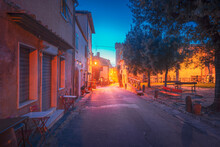 Bolgheri Medieval Village Street At Sunset. Castagneto Carducci, Tuscany, Italy