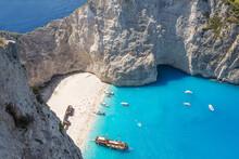Elevated View Of Famous Shipwreck Beach. Zakynthos, Greek Islands, Greece