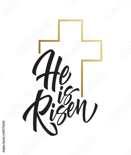 Fotografia He is risen lettering isolated on white background