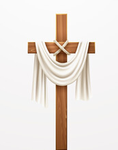 Christian Cross. Congratulations On Palm Sunday, Easter And The Resurrection Of Christ. Vector Illustration