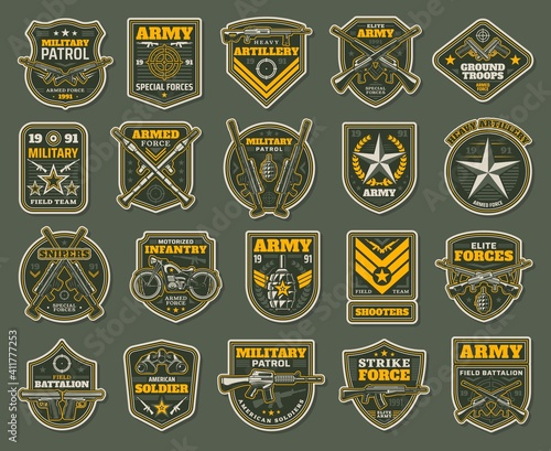 Army special forces, military specialists badges set Fototapet