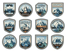 Mountain Travel, Tourism, Camping Active Leisure Isolated Vector Icons. Hiking Tools, Travel Trailer And Tent, Backpack Expedition Equipment. Compass, Binoculars And Tourism Clothing, Skis Labels Set