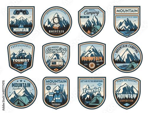 Slika na platnu Mountain travel, tourism, camping active leisure isolated vector icons