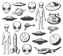 Aliens, Ufo And Space Shuttles Vector Retro Icons. Extraterrestrial Comer With Long Arms, Skinny Body And Huge Eyes. Laser Gun, Saturn Planet And Spaceshipwith Alien Saucers In Cosmos Isolated Labels