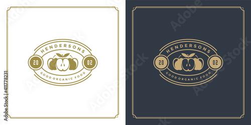 Cuadros en Lienzo Restaurant logo template vector illustration apples veggie food silhouettes