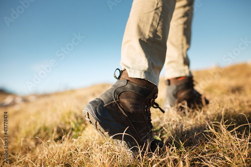Obraz Close-up trekking shoes, bottom view - fototapety do salonu