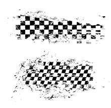 Race Flag Grunge Pattern, Vector Checkered Monochrome Sport Racing Flag Texture Isolated On White Background. Symbol For Motocross Sports Tournament, Car Rally Competition, Checker Design Element