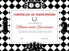 Chess Certificate Diploma Frame, Championship Or Board Games Competition, Vector Template. Chess Participation Certificate Or Winner Honor Award, Pawn, King And Horse Chess On Chessboard Background