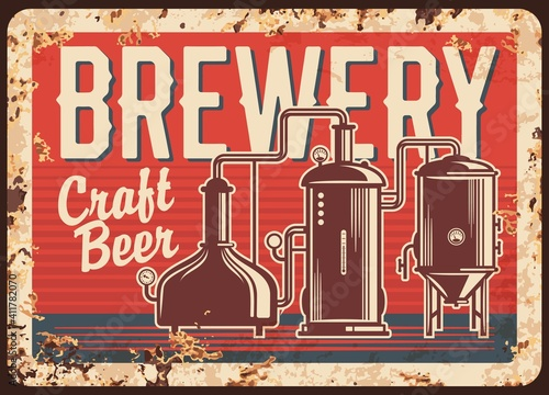 Craft beer brewery rusty metal vector plate. Copper brew kettles with pipes, pressure gauges and typography. Small, local brewery or pub retro banner, advertising sigh with rust texture © Vector Tradition