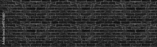 Wide old black shabby brick wall texture Wallpaper Mural